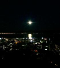 Full moon over Wellington Harbour