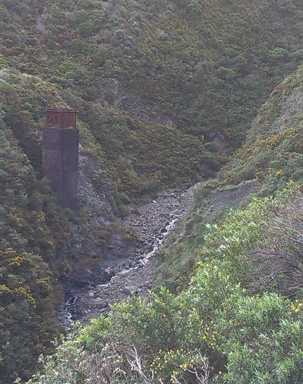 Siberia Gully. The concrete shaft on the left is all that remains of the embankment