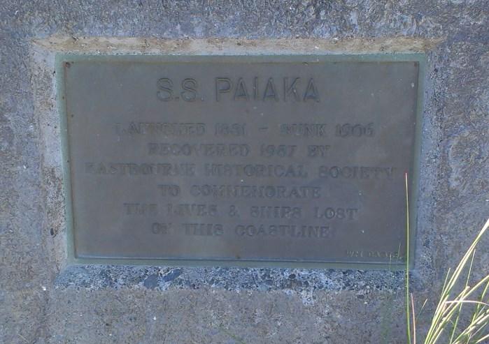 Shipwreck Baring Head sign