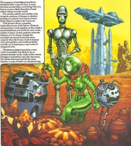 Exploring an alien planet, from The Usborne Book of the Future (1979)
