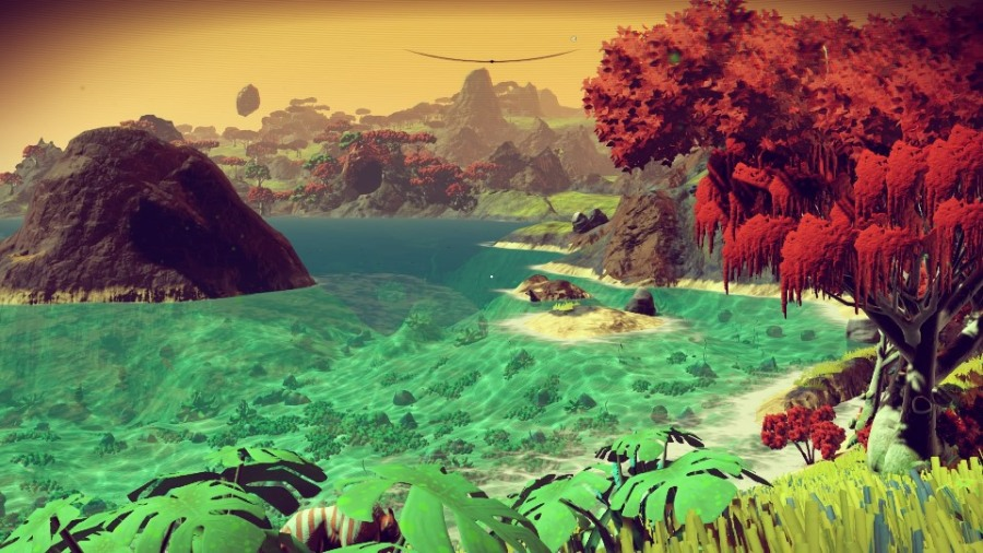 Alien landscape and ocean in No Man's Sky