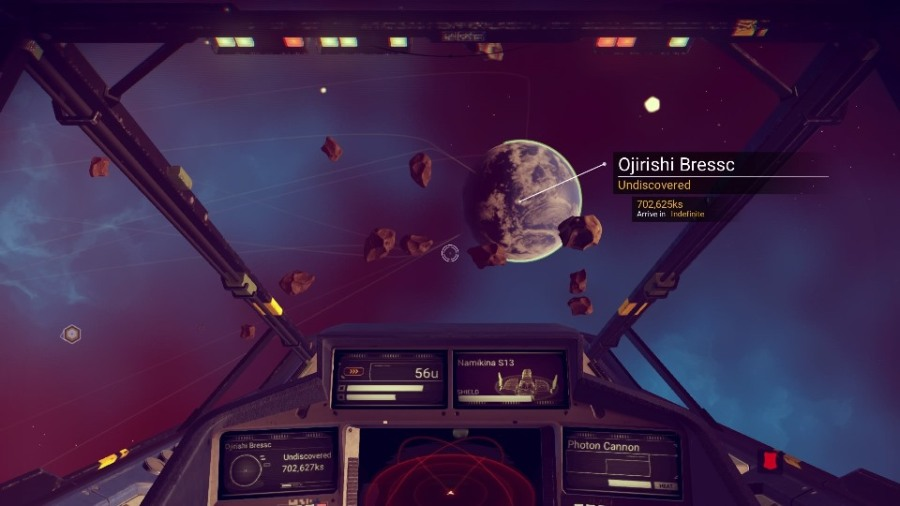 View from spaceship cockpit in No Man's Sky