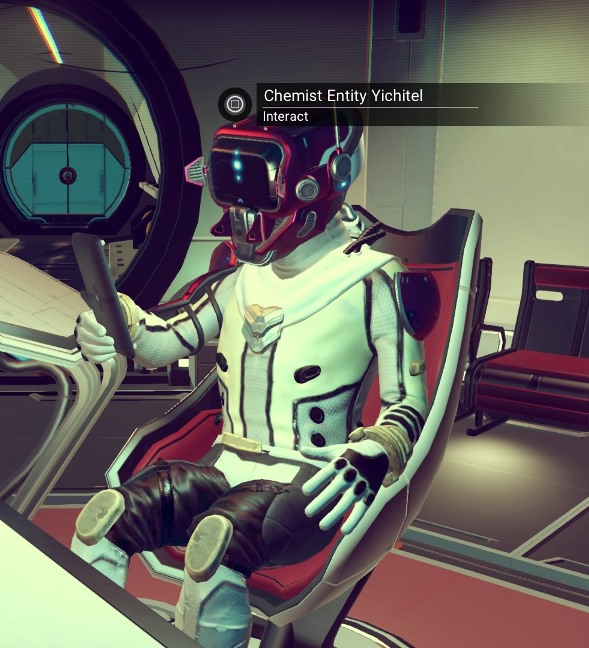 An alien from the Korvax race in No Man's Sky